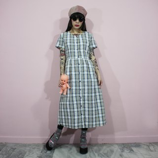 (Vintage dress) gray blue and white check pattern with waist strap Japanese vintage dress (birthday gift) F3220