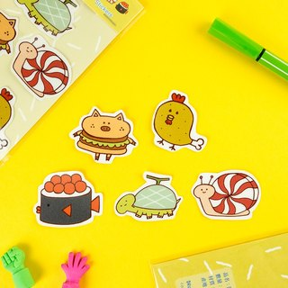 Water Proof Stickers 5pcs in 1 Pack - Food and Animals