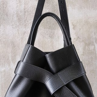 KANGAROO (Black) Leather Bucket Bag