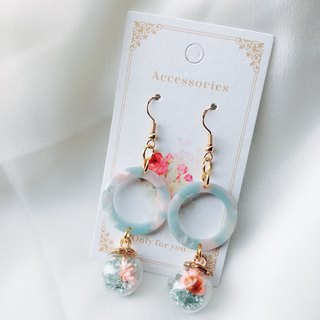 LJ.Flower / Sky City Tranquil Flower Glass Bead Earrings / Birthday Gifts