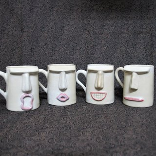 Snowflake season Moai shape cute mug, cup, teacup, coffee cup - about 390ml