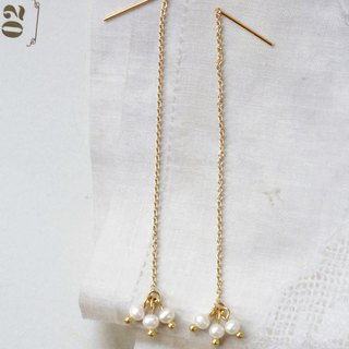 Sweet swing pearl long earrings │14kg natural pearl earrings