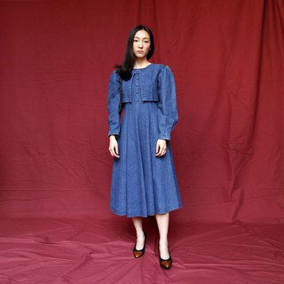 Pumpkin Vintage. Ancient round neck sleeves denim dress