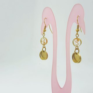 E8 (can be typed) - pure copper freshwater pearl earrings (1 pair)