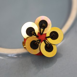 handmade gold and black floral brooch,  round flower pin