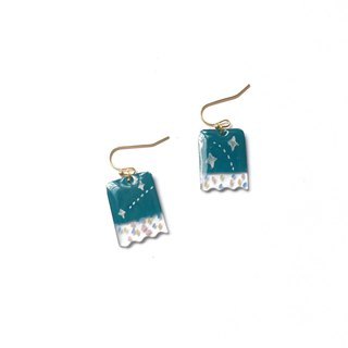 Star color ticket holder / pin earrings