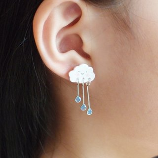 FOX Garden hand-made clouds rain drops earrings / ear pins / earrings / ear clips Christmas gifts exchange gifts birthday gifts**If not specified, all with blue raindrops, transparent ear clip shipping**