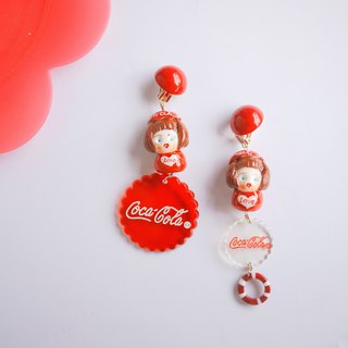 Clay hand made cocacola cola girl fun earrings ear clip