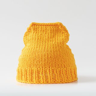 OTB114 ladder type hand-knitted cap - bright yellow