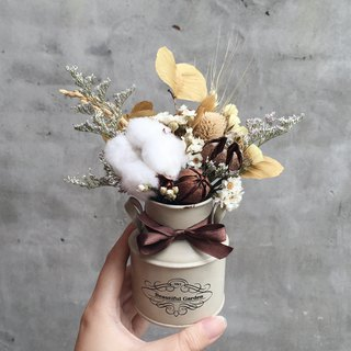 Cotton dry bouquet tin can