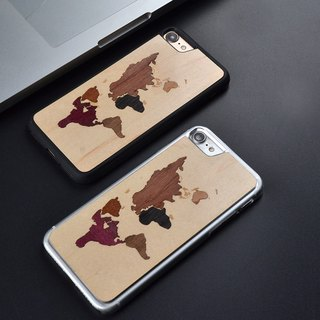 sonrmum iPhone 6 S splicing world map mobile phone shell Apple 7 PLUS wood ultra-thin protective sleeve Samsung S7 edge S8 plus
