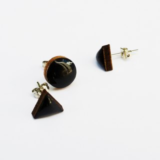 Tiny geometric triangle and circular wood earrings - black