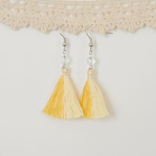 armei 雙色流蘇。鮮黃淺黃。白水晶。耳環 Two Colorway Tassel。Shiny Yellow Light Yellow。Crystal。Earrings