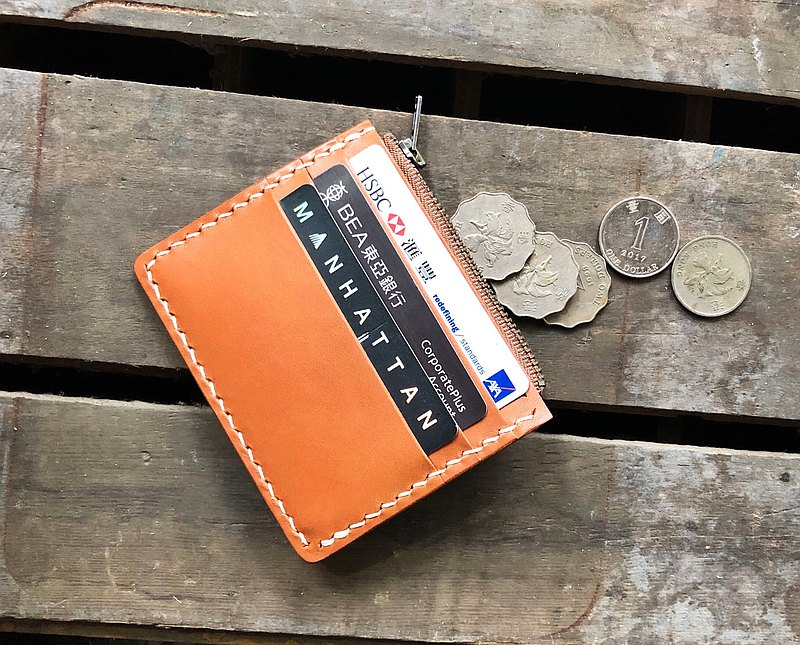 3咭位 6咭位 拉鏈零錢包 皮革材料包 刻名 名片夾 植鞣 皮革DIY