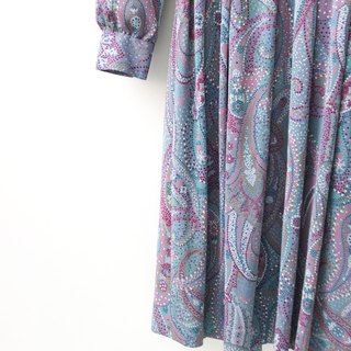 【RE0503D1161】 Showa Wind Retro Amoeba Print Gray Purple Long Sleeve Spring Summer Antique Dress