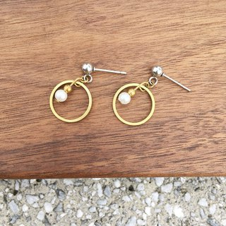 Laolin groceries Travelin-hand made brass earrings glass wind chime ear hook l ear pin l ear clip