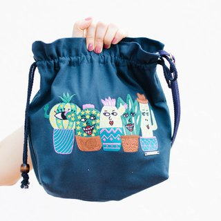 Embroidered Cotton Canvas Drawstring Across-body bag Forever friends