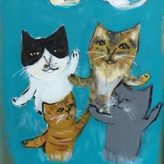 Dancing cat original painting