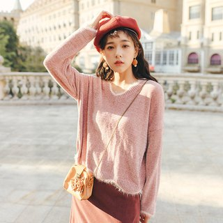 2018 autumn and winter ladies new wave V-neck wool sweater