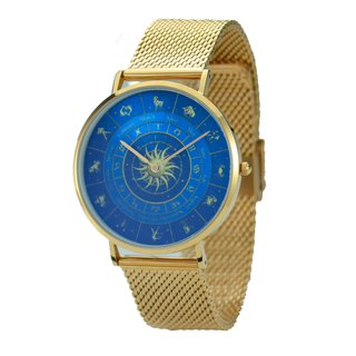 Classic Minimalist 12 Constellation Circle Watch Blue with Mesh Strap