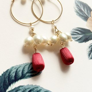 Red, Stereo embroidery earrings, Retro elegant, 14kgf, PinkoiENcontent