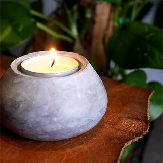 Gray Stucco Candle Holder