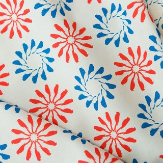 Printed Fabric / Black Drongo Circles / Red & Blue