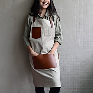 【Invisible cloak gear】 leather pocket washable canvas apron leather leather (khaki fabric + red brown leather) coffee shop