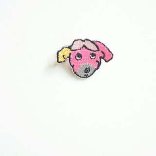 Pink little dog embroidery pin