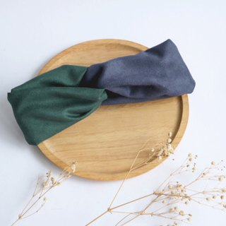 MaryWil Double Suede Hairband - Dark Green/Dark Blue