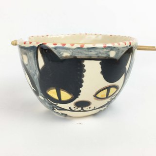 Nice Little Clay Handmade Bowl_Happy Flower Cat 0201-12