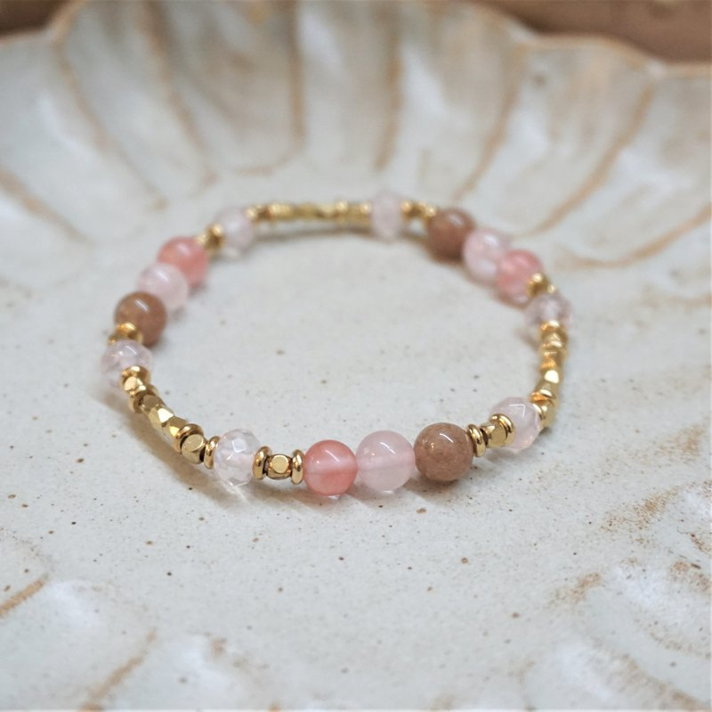 << Love Song - Natural Stone Bracelet >> Watermelon Red Agate Powder Crystal Strawberry Crystal