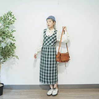 Vintage dark green checked prints cotton sleeveless dress