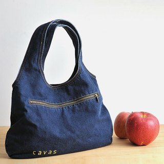 Washed Denim Tote _ Dark Blue