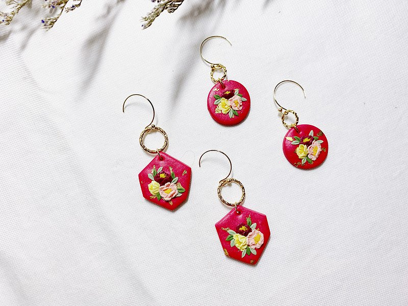 Big Red Flower Blooming Rich Series | Soft Pottery Earrings/Ear Clips