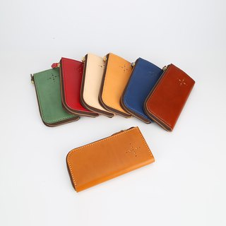 [Cutline] handmade leather wallet L-shaped zipper organ long clip