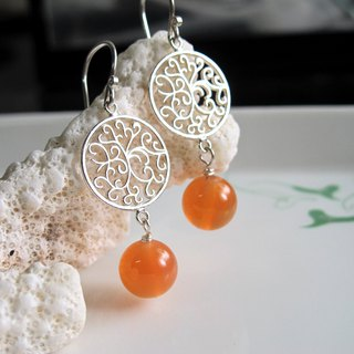 [Grapefruit] Natural Agate x 925 Silver Jewelry - Earrings Series - Handmade Natural Stone Series