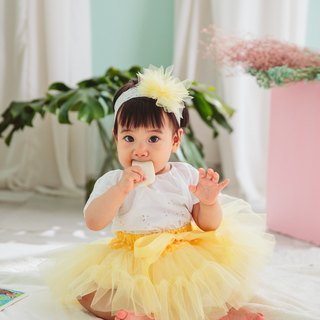 Newborn Gift Box - la petit Citron French Handmade Skirt Set (MIT) : Goose Yellow Light Skirt + Headdress Made in Taiwan