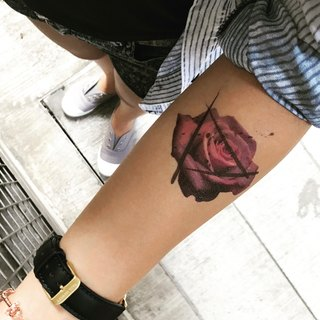 TOOD Tattoo Stickers | Arm Position Purple Rose Flower Plant Tattoos Tattoos Stickers (2 Pieces)