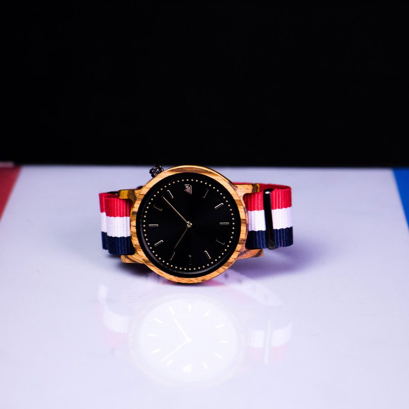 PRIME 1.2.1 Zebrawood Wooden Watch - The Patriot 42mm