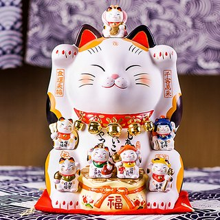 Japanese pharmacist kiln handmade large lucky cat Kam Choi seven Fushou opening housewarming birthday gift on the 12th