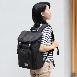 Double buckle large capacity backpack (14 吋 laptop OK) - hemp black _100398