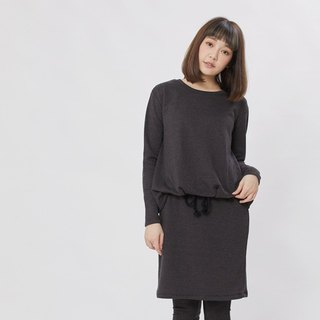Smart Cozy French Terry Long Sleeves Drawstring Dress / Grey