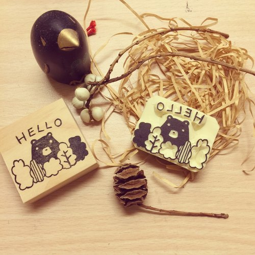 Hello bear eraser stamp*handmade*rubber stamp*handmade stamp*hand carved