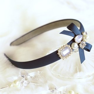 Classy Ribbon with Pearl and Beads Headband