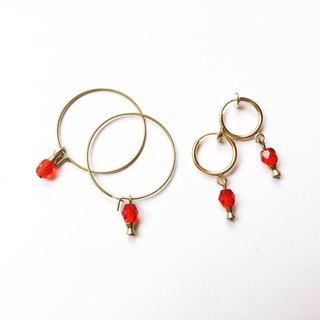 Marguerite Red Champagne Needle/Clip Earrings