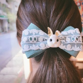 [French country rabbit French clip] handmade hair bow hair clip