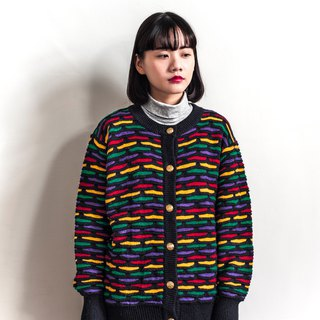Vintage color line three-dimensional knit vintage cardigan