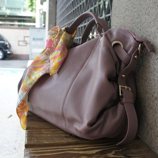 La Poche Secrete: Metropolitan girl's smile bag _ gray fog purple _ portable shoulder leather bag _1912
