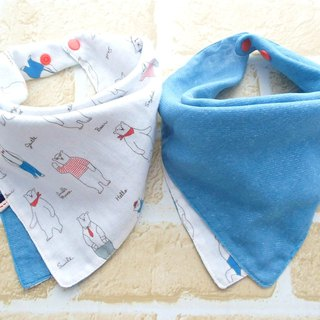 Baby Bib, 口水巾, Reversible Scarf Bib, Handkerchief, Polar Bear, Japanese Cotton